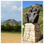 Die Burgruine Staufen - und Bacchus im Vordergrund