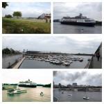Am Hafen ist es schön. Die Promenade am St. Lorenz-Strom, Schiffe und gut gelaunte Menschen.