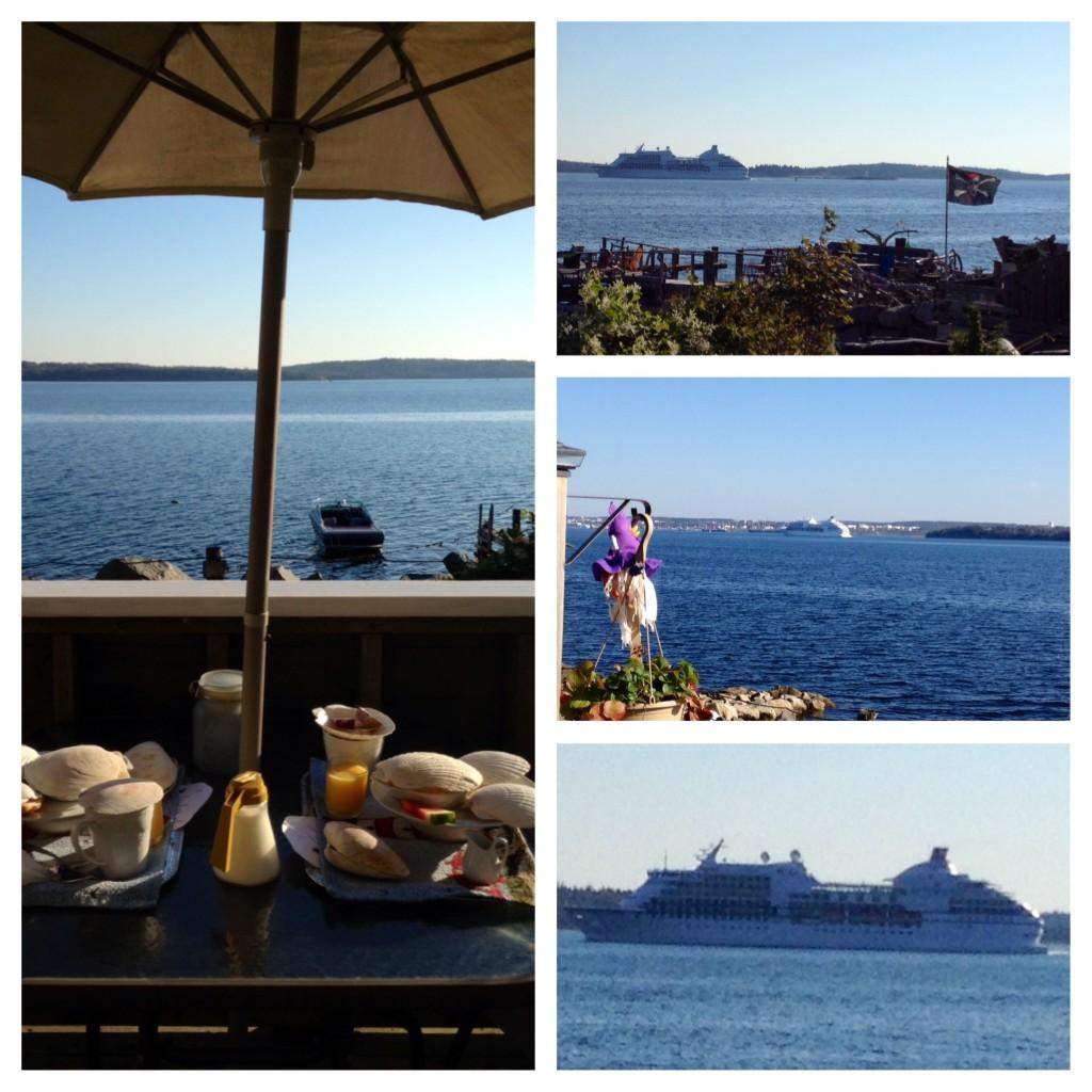 beginnt mit einem schönen Frühstück auf der Terrasse des Seawatch Bed & Breakfast. Wir können an diesem Morgen 4 Kreuzfahrtschiffe einlaufen sehen.