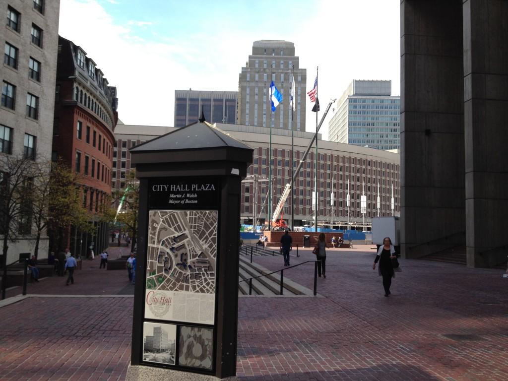 Der Rathausplatz von Boston